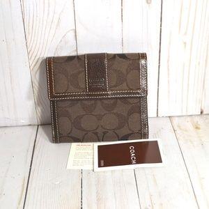 Coach Bi Fold Brown Canvas Leather Wallet